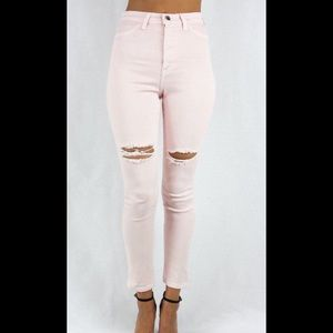 Denim - Pink Distressed knee jeans size 5 NWT